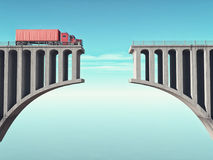 A big truck. In front of a broken bridge. This is a 3d render illustration Stock Photo