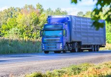 Truck moves on highway. Big truck moves on country highway Stock Photography