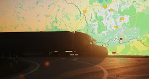 Big truck moving on the highway on a geographical map. Delivery of goods. Anywhere in the world stock images