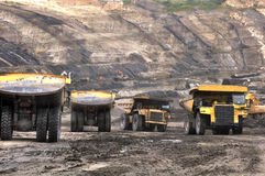 Big truck on open pit coal mining stock photography