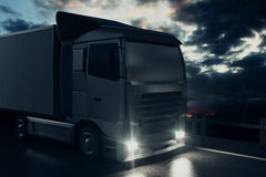 Big truck on sky background. Big truck on night sky background. Cargo concept. 3D Rendering Stock Images