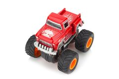 Big truck toy color red isolated on white background.  stock photo