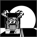 Big truck with a trailer on the road. Stylized illustration on the theme of transportation and logistics. Big truck with a trailer on the road stock illustration