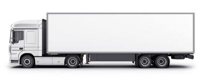 Big truck and white trailer. Big truck and trailer on white background. 3d illustration royalty free illustration
