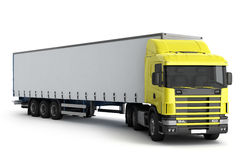 Big Truck Trailer on white background with soft shadows Mock up. 3D illustration royalty free illustration
