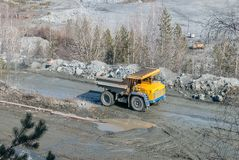 Big truck transport stone ore in career Stock Photography