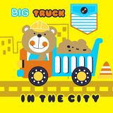 Big truck. Vector illustration for children clothes for wallpaper Stock Photo