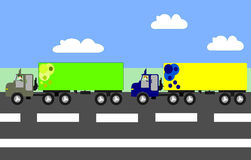 Big trucks moving on the highway, Royalty Free Stock Images