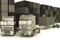 Big  trucks in storage outdoors Stock Photos