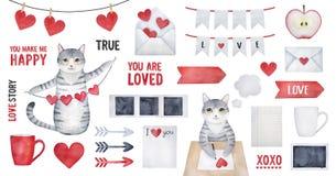 Big True Love Watercolor Set. stock illustration