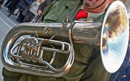 Big Trumpet player. Band of Army trumpet soldier during parade royalty free stock photo