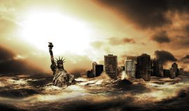 After the Big Tsunami. Statue of Liberty and downtown Manhattan, under the water after a gigantic tsunami that covers the eastern coast of United States royalty free stock photo