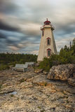 Big Tub Lighthouse. Early morning sunrise at Big Tub Lighthouse located in the Bruce Pininsula of Tobermory, Ontario, Canada royalty free stock image