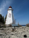 Big Tub lighthouse in Tobermory. Along coastline of Bruce Peninsula National Park. Tobermory is a small community located at the northern tip of Bruce Peninsula Stock Photos