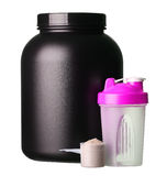 Big tub of whey protein with pink shaker and cup of protein Stock Image