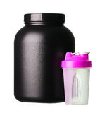 Big tub of whey protein with pink shaker for girl bodybuilding Royalty Free Stock Photography