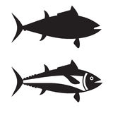 Big Tuna Fish Outline Icon or Logotype. Silhouette of tuna ocean fish vector icon in outline design. Big tunny logo or label template isolated on white Stock Photos