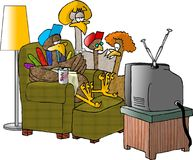 After the Big Turkey Dinner. This illustration that I created depicts a turkey family gathered around the turkey TV after dinner Royalty Free Stock Photos