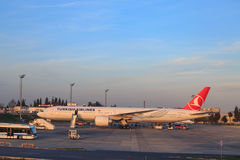 A big turkish airlines plane waiting at Ataturk airport Royalty Free Stock Photo