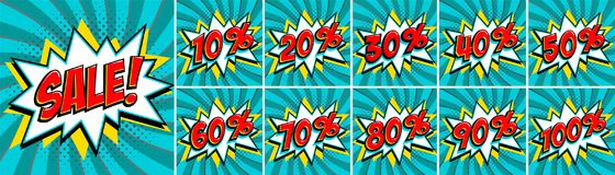 Big turquoise color sale set. Sale inscription and all percent numbers. turquoise and red colors. Pop-art comics style. Web banners, flash animation, stickers Stock Photo