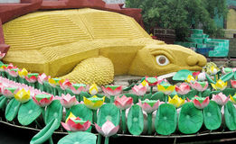 Big turtle model Suoi Tien Amusement Park. Big turtle statue. Chinese and vietnam ancient mythological magic creature. a mythical hooved chimerical creature in stock photo
