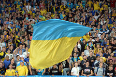 Big Ukrainian flag during the match Royalty Free Stock Images