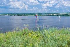 Big Ukrainian river Dnepr. At summer season stock image