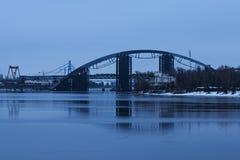 Big unfinished bridge across the Dnipro. Kyiv. Ukraine Stock Image