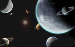 Big Universe planet mayhem. Big universe with nine planets and one sun all 3D generated Royalty Free Stock Images