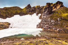 Big unmelted in July snowfield reflected in water Royalty Free Stock Images