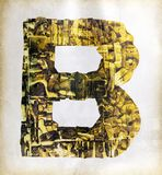 Golden letter uppercase  B. Big uppercase letter B   layers of metalic gold letters Stock Image