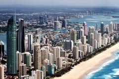 Big urban city located on a coast Stock Image