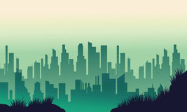 Big urban silhouettes on green backgrounds Stock Images