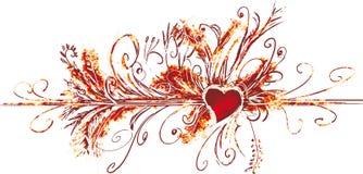 Big valentine flourish. Grunge and rusted valentine decoration flourish stock illustration