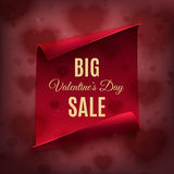 Big Valentines day sale, poster template. Royalty Free Stock Photos