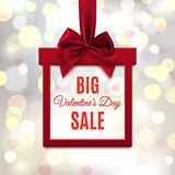 Big, Valentines Day Sale. Red, square banner in form of gift. Stock Image