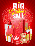 Big Valentines sale. Bright advertising poster Big Valentines sale on red background with festive decorated gift boxes and shopping bags. Vector illustration Royalty Free Stock Photography