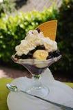 Big vanilla ice, whipped cream, fresh blueberry dessert in glass Royalty Free Stock Image
