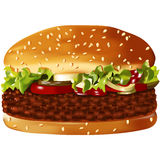 Big, vector, american hamburge Stock Photography