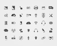 Big Vector black Technology icons Stock Images