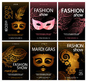 Big vector bundle of black fashion and mardi gras flyer and poster template. Brochure stock illustration