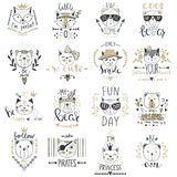 Big Vector collection with  cute animals. Set with teddy bears, Royalty Free Stock Photography