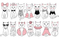 Big Vector collection with cute fashion cats. Stylish kitten set. Trendy illustration in sketch style  t-shirt print, cards, poster. Doodle Kitty. Kids animals Stock Image