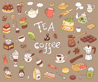 Big vector collection of doodle tae and coffee. Equipment and de. Ssert, spoon, sweets, cake, cup, teapot, bakery and cookery. Color Stock Image