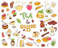 Big vector collection of doodle tae and coffee. Equipment and de. Ssert, spoon, sweets, cake, cup, teapot, bakery and cookery. Color. White background Stock Photo
