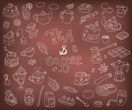 Big vector collection of doodle tae and coffee. Equipment and de. Ssert, spoon, sweets, cake, cup, teapot, bakery and cookery. Outline on the chalkboard Stock Images