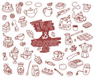 Big vector collection of doodle tae and coffee. Equipment and de. Ssert, spoon, sweets, cake, cup, teapot, bakery and cookery. Outline. Chocolate color Royalty Free Stock Photos