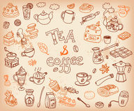 Big vector collection of doodle tae and coffee. Equipment and de. Ssert, spoon, sweets, cake, cup, teapot, bakery and cookery. Outline. Chocolate tasty color Royalty Free Stock Photo