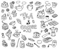 Big vector collection of doodle tae and coffee. Equipment and de. Ssert, spoon, sweets, cake, cup, teapot, bakery and cookery. Outline. Back and white Stock Images