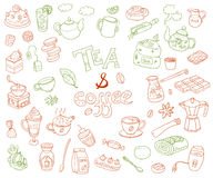 Big vector collection of doodle tae and coffee. Equipment  de Stock Images